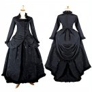 Custom Made Women's Black Dress Vintage Recoco Victorian Dress Stand Collar Dress Costume Cosplay