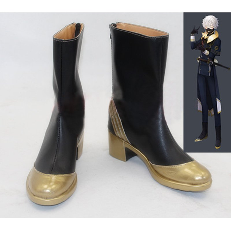 Touken Ranbu Online Nakigitsue Shoes Cosplay Adult's Black Custom Made Boots Shoes Cosplay Accessary