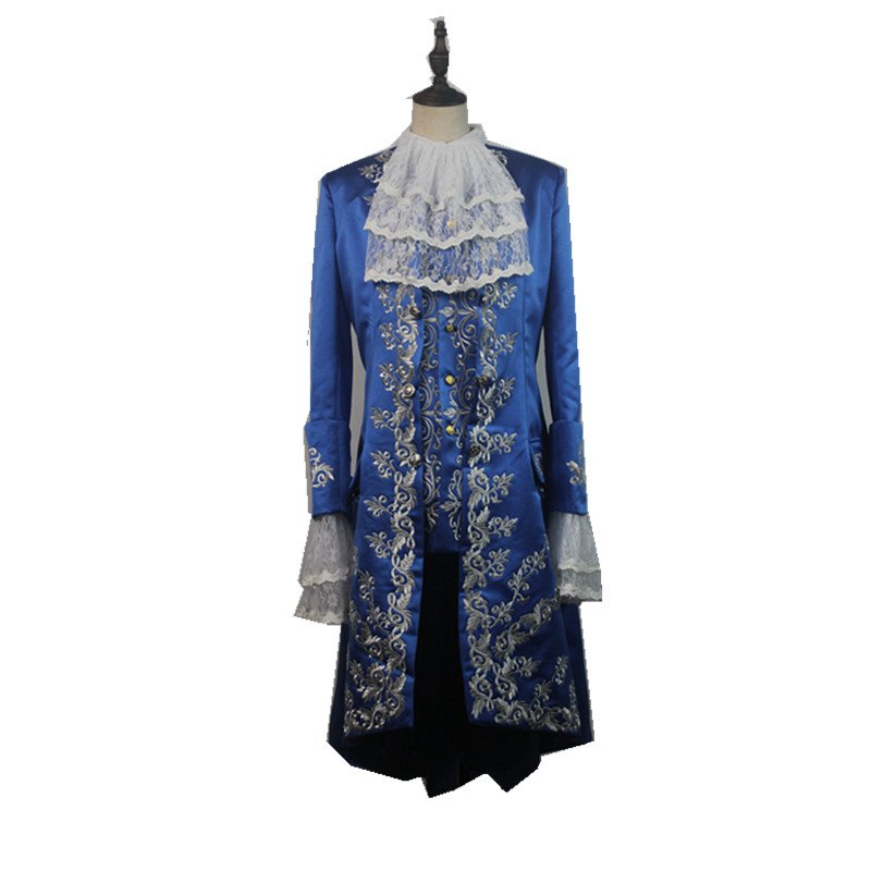2017 Movie Beauty and The Beast Dan Stevens Beast Blue Trench Shirt Vest Costume Cosplay