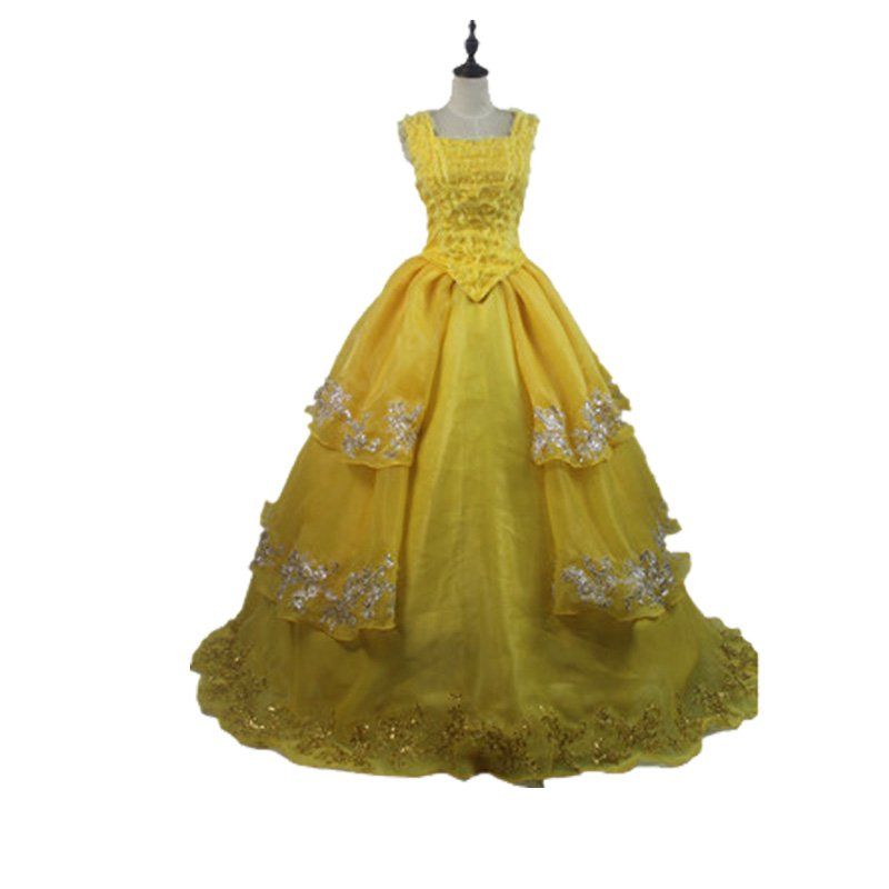 Belle Yellow Dress 2017 Movie Beauty and The Beast Princess Belle Dress Costume Cosplay