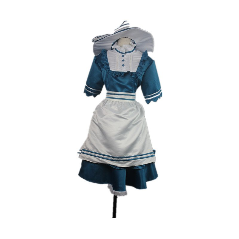 2017 New Arrival Bell Dress Beauty and The Beast Bell Blue Lolita Dress Apron with Hats Cosplay
