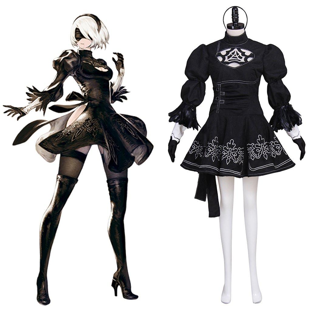 Game NieR:Automata 2B YoRHa No.2 Type B Dress Costume Cosplay Adult's Custom Made Dress Cosplay
