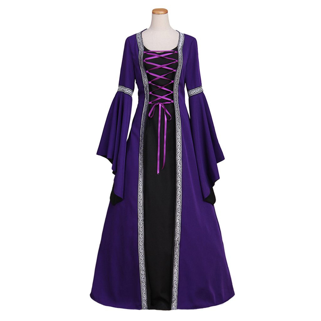 Adult's Dress Cosplay Vintage Medieval Women's Purple Custom Made Dress Cosplay for Halloween