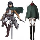 2017 Attack on Titan Mikasa Ackerman Jacket Shirt Pants Cloak Costume Cosplay