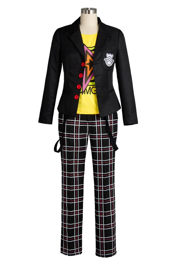 Persona 5 Sakamoto Ryoji Costume Outfit Cosplay Custom Made Adult's Uniform for Party