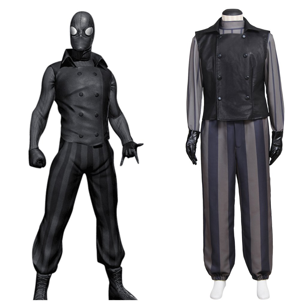 Spider Man Noir Custom Made Outfit Costume Cosplay Vest Pants Shirt for Halloween Carnival Party