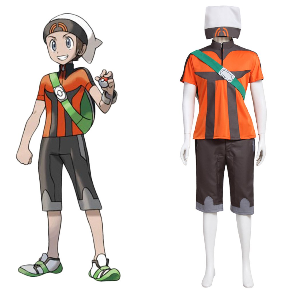 Pokemon Brendan Custom Made Outfit Costume Top Shorts Bag Hat Costume Cosplay for Party