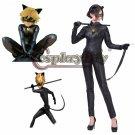 Miraculous Ladybug Cat Noir Costume Cosplay Jumpsuit Gloves Eyemask Cosplay