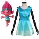 Cosplaydiy Summer girl Poppy princess dress girl Trolls clothes children&adult women cosplay costume