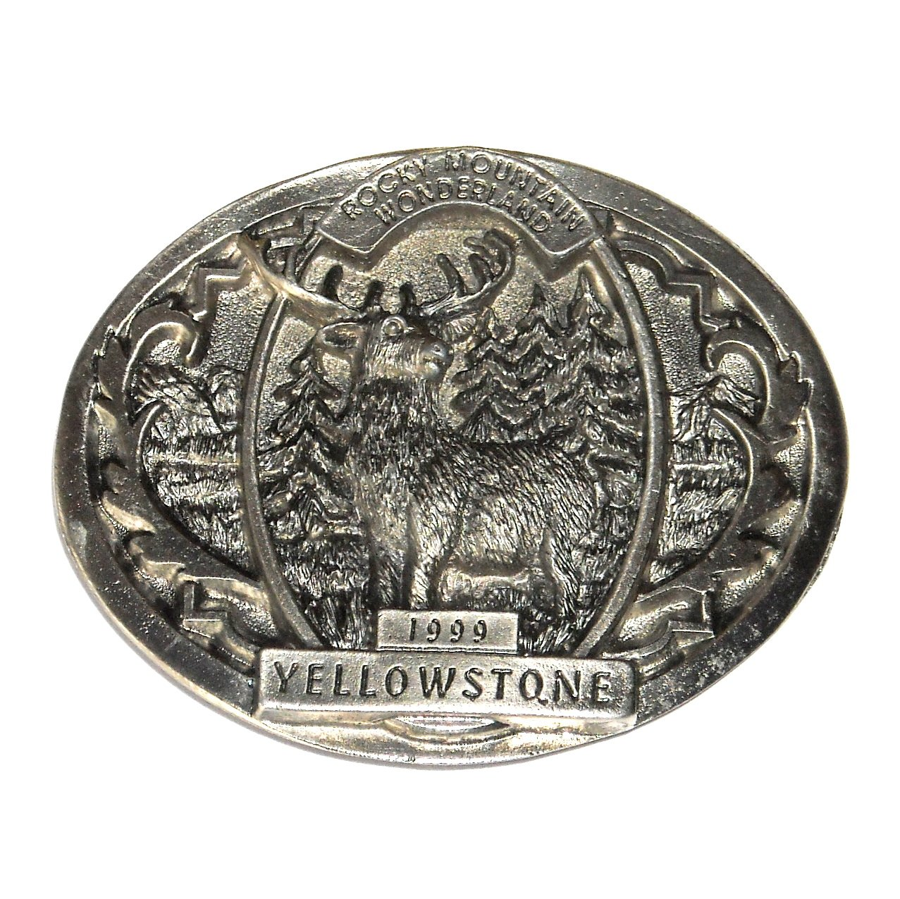 Yellowstone 3D Rocky Mountains Wonderland Solid Pewter Belt Buckle