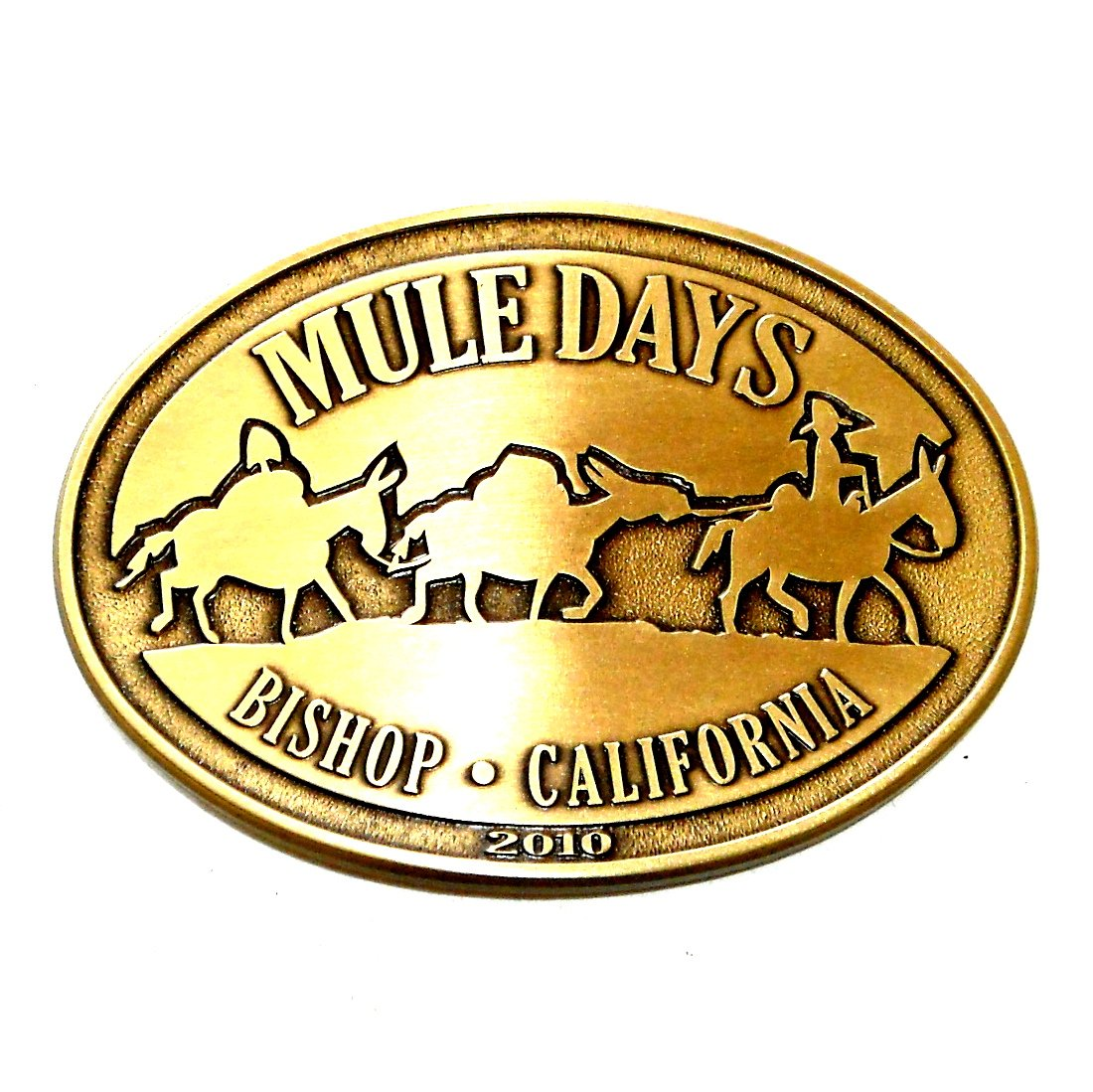 California Bishop Mule Days 2010 Solid Bronze Belt Buckle