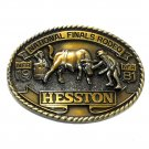 Cowboy Rodeo Clowns NFR Hesston 1981 Brass Belt Buckle