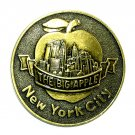 Big Apple New York City Vintage Round Brass Belt Buckle