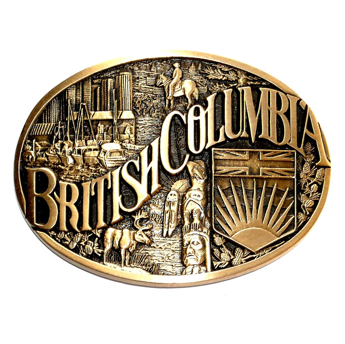 British Columbia First Edition Award Design Brass Belt Buckle