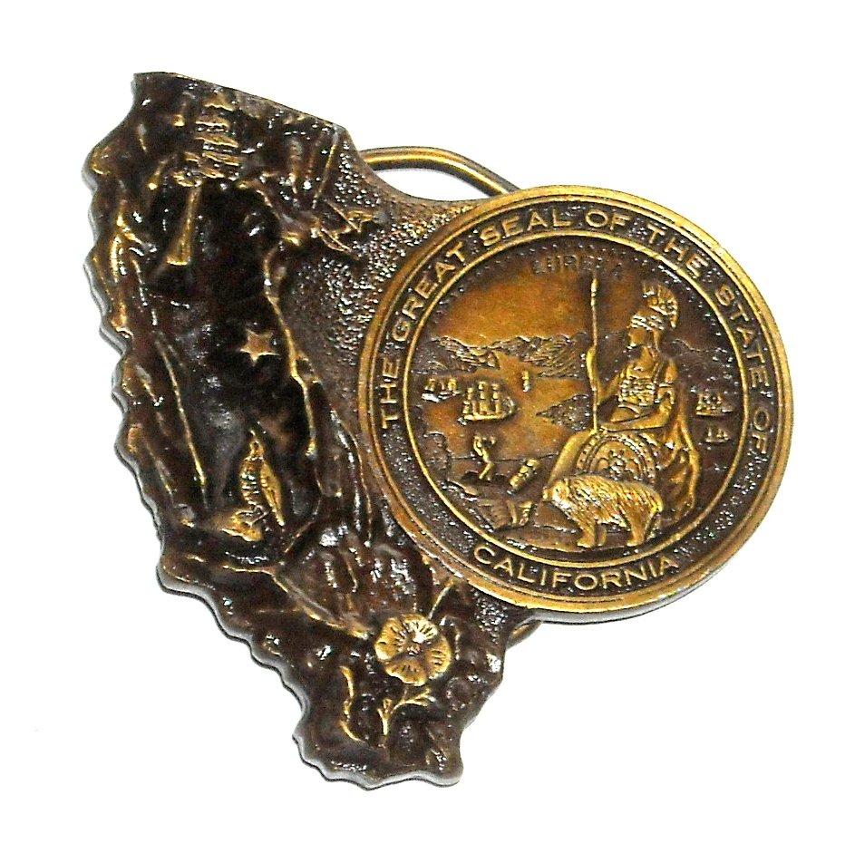 California State Great Seal Vintage Bergamot Brass Belt Buckle