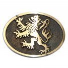 German Lion Crest Hand Casted Sanded Finish Solid Bronze Belt Buckle