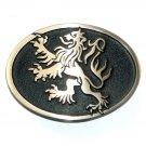 Lion German Crest Hand Casted Satin Finish Solid Bronze Belt Buckle