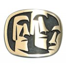 Moai Big Head Hand Casted Satin Finish Solid Bronze Belt Buckle