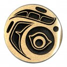 Northwest Coast Native Design Hand Casted Sanded Finish Solid Bronze Round Belt Buckle