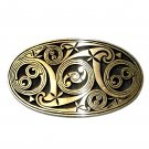 Celtic Scroll Hand Casted Sanded Finish Solid Bronze Belt Buckle
