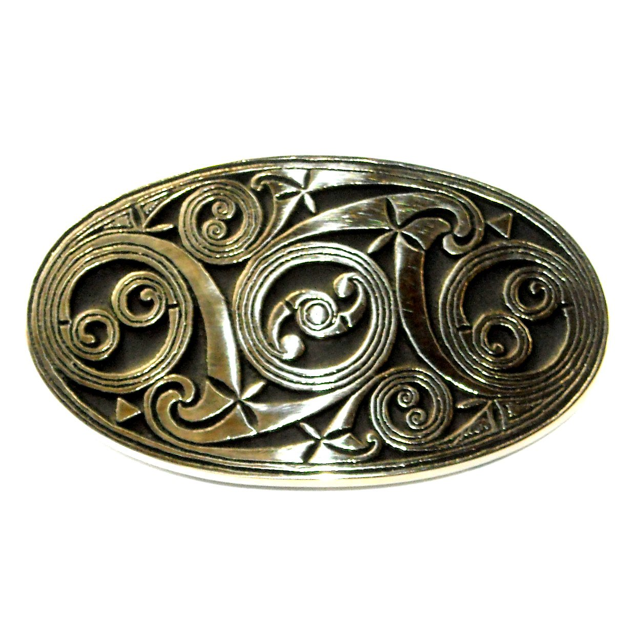 Celtic Vintage Scroll Solid Bronze Polished Finish Belt Buckle