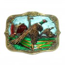 Pheasant Fasan Birds Vintage Great American Brass 3D Belt Buckle