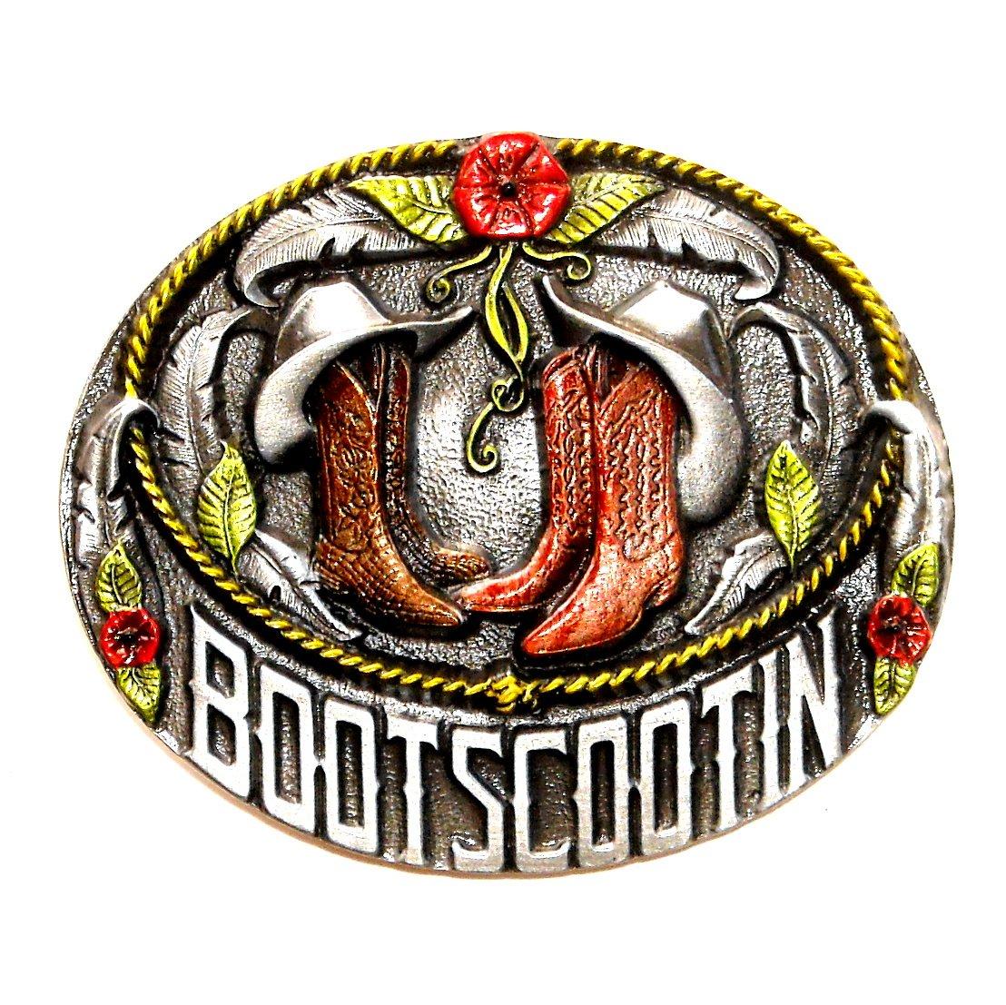 Boot Scootin Color Bergamot US Pewter Line Dance NOS Belt Buckle