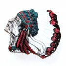 American Indian Chief Native Color 3D Bergamot US Pewter Belt Buckle