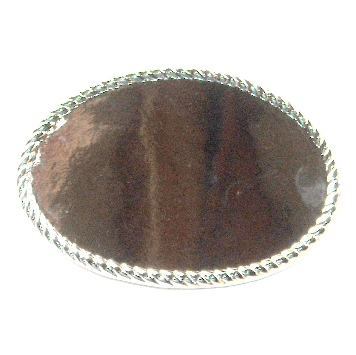 Rope Edge Oval Blank Nickel Plated Silver Color Belt Buckle