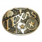 Texas State Seal Award Design Solid Brass Belt Buckle