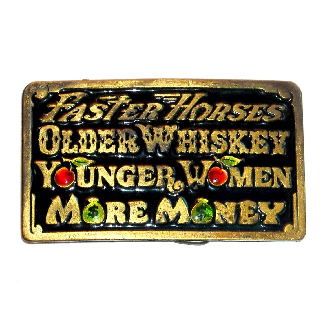 More Money Vintage Color Great American Brass Belt Buckle