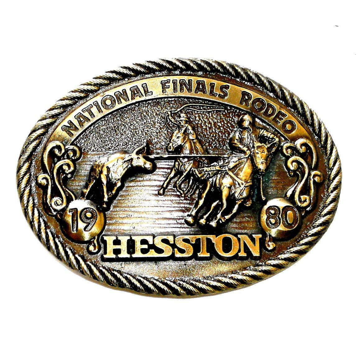 Cowboy Calf Roper NFR Hesston 1980 Rodeo Brass NOS Belt Buckle