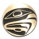 Northwest Coast Totem Hawk Hand Casted Sanded Finish Solid Bronze Round Belt Buckle