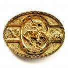 End Of The Trail Vintage First Edition Award Design Brass Belt Buckle