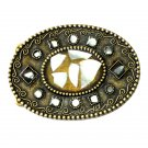 Inlaid Abalone Shell Boho Bobo Vintage Brass Color Western Belt Buckle