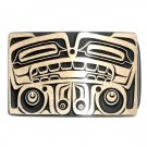 Bear Northwest Totem Hand Casted Sanded Finish Solid Bronze Belt Buckle