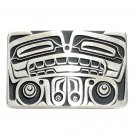 Bear Northwest Totem Hand Casted Bronze Silver Satin Finish Gentleman Belt Buckle
