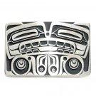 Bear Northwest Totem Hand Casted Bronze Silver Satin Finish Gentleman Belt Buckle