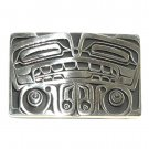 Totem Bear Northwest Coast Hand Casted Solid Bronze Polished Silver Finish Belt Buckle