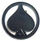 Black Ace Of Spades Symbol Round Metal NOS Belt Buckle