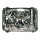 Buck Male Deer 3D Siskiyou US Pewter Vintage Belt Buckle