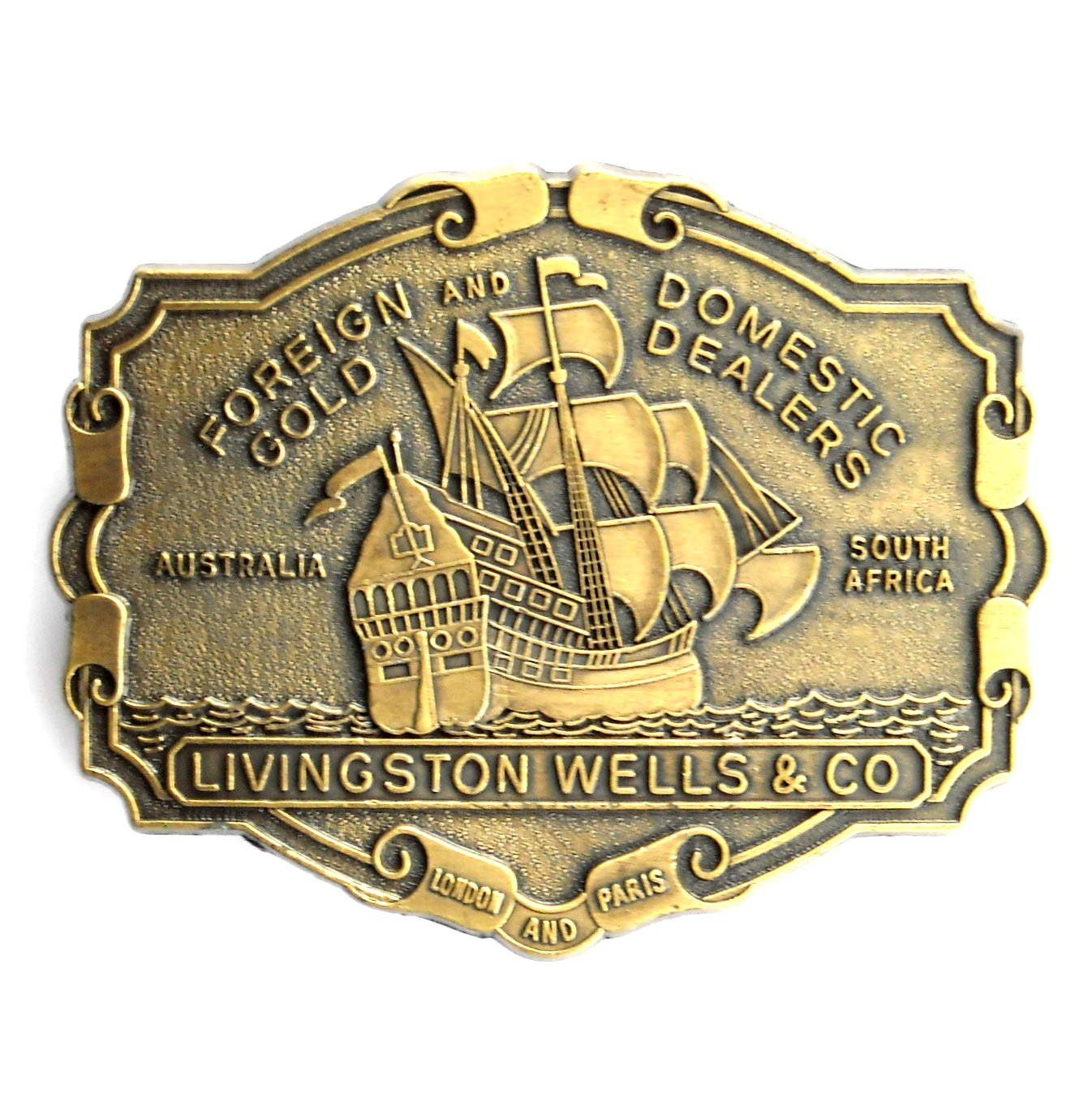 Gold Dealers Foreign Domestic Livingston Wells Belt Buckle