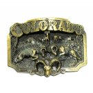 Colorado Rams 3D Brass Color Great American Belt Buckle
