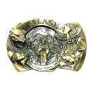 Alaska The Last Frontier 3D Brass Color Great American Belt Buckle
