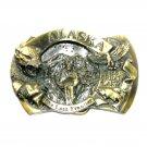 Alaska The Last Frontier 3D Brass Color Great American Belt Buckle