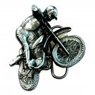Motocross Dirt Biker 3D Bergamot USA Pewter American NOS Belt Buckle