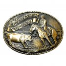 American Rodeo Cowboy Tony Lama Limited Edition Brass Belt Buckle