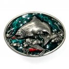 Jumping Chinook Salmon 3D Vintage C J NOS Belt Buckle