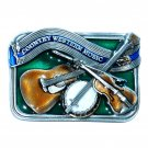 Country Western Music Color Bergamot 3D Pewter Belt Buckle