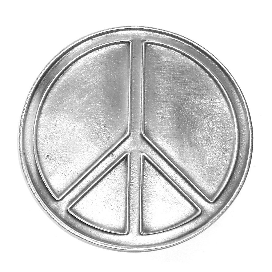 Love Peace Symbol Bergamot Pewter Belt Buckle